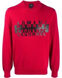 Armani Exchange Logo-print Cotton Jumper - Red
