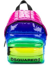 DSquared² Rainbow Quilted Backpack - Blue