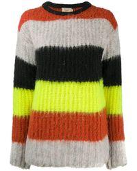 Maison Kitsuné Textured Stripe Knit Jumper - Yellow