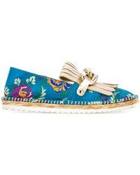 Casadei Floral Embroidered Espadrilles - Blauw