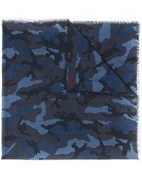 Valentino Camouflage Print Scarf - Blue