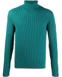 Gucci Ribbed-knit Long-sleeve Sweater - Blue