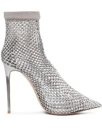 Le Silla - Cuir/filet Argent Strass - Lyst