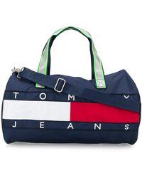 Tommy Hilfiger Logo Embroidered Holdall - Blue
