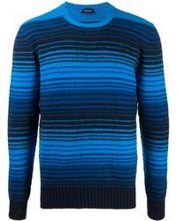 Drumohr Striped Lambswool Jumper - Blue
