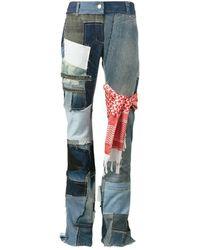Ronald Van Der Kemp Flared Patchwork Jeans - Blue