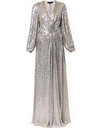 Jenny Packham Robe longue brodée de sequins - Métallisé