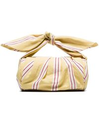 Rejina Pyo Yellow, White And Red Nane Canvas Clutch Bag