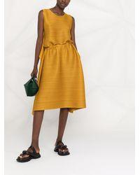 Pleats Please Issey Miyake Pleated Flared Midi Dress - Yellow