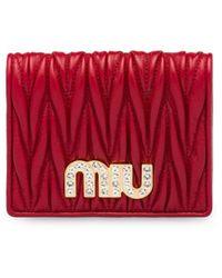 Miu Miu マテラッセ 財布 - レッド