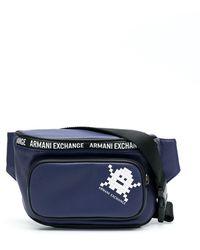 Armani Exchange Поясная Сумка С Принтом - Синий