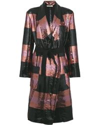 ODEEH - Striped Sequin Coat - Lyst