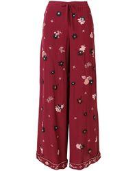 Valentino Брюки-палаццо С Цветочной Вышивкой - Красный