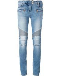 Balmain Jean skinny de moto - Bleu