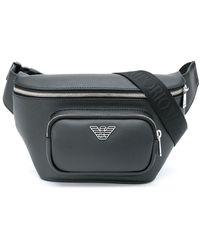 Emporio Armani ロゴプレート ベルトバッグ - ブラック