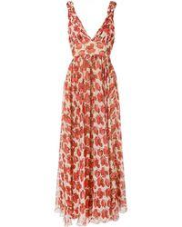 Raquel Diniz Julie Poppy-print Silk Dress - Brown