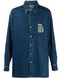 Raf Simons ロングライン デニムシャツ - ブルー