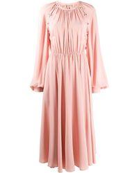 N°21 Платье Миди С Рукавами Бишоп - Розовый