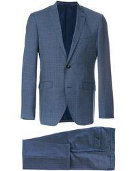 Etro チェック ツーピース スーツ - ブルー