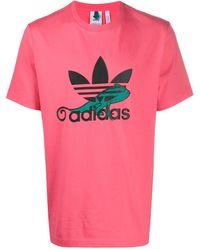 adidas T-Shirt mit Logo-Stickerei - Rot