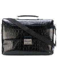 Baldinini Crocodile Embossed Laptop Bag - Black