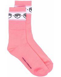 Chiara Ferragni Eye-motif Logomania Socks - Pink