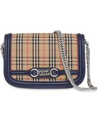 Burberry The 1983 Check Link Bag With Leather Trim - Multicolor