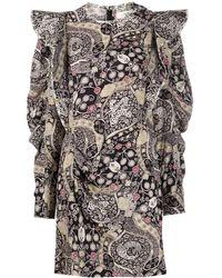 Étoile Isabel Marant Catarina Ornate-print Ruffle Mini Dress - Black