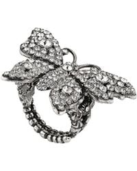 Gucci Crystal Studded Butterfly Ring In Metal - Metallic