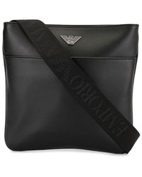 Emporio Armani Logo Plaque Messenger Bag - Black