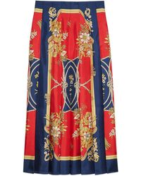 Gucci Silk Skirt With Flowers And Tassels Print - Rood