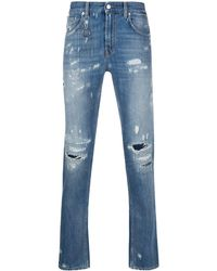 Department 5 Distressed Skinny Fit Jeans - Blue