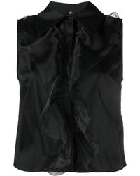 Elisabetta Franchi ラッフルトリム サテンシャツ - ブラック