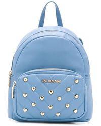 Love Moschino Rucksack mit Nieten - Blau