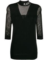 Karl Lagerfeld Сетчатая Рубашка С Логотипом - Черный