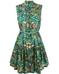 Zimmermann Edie Peacock-print Cotton Dress - Green