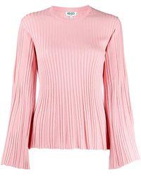 KENZO Gerippter Pullover in Metallic-Optik - Pink