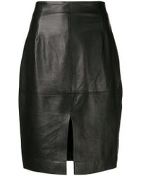 Twin Set - High Waisted Leather Skirt - Lyst