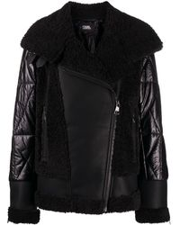 Karl Lagerfeld Faux-fur Biker Jacket - Black