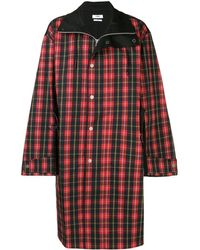 Cmmn Swdn Manteau oversize à motif tartan - Rouge