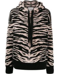 Laneus Zebra Print Hoodie - Black