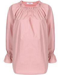 Atlantique Ascoli Flounce-sleeved Cotton Blouse - Pink