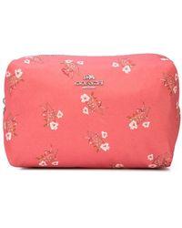 COACH Floral Boxy Makeup Bag - Pink