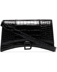 Balenciaga Sac porté épaule Hourglass à effet peau de crocodile - Noir