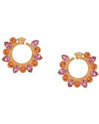 Versace Bejewelled Greca Hoop Earrings - Metallic