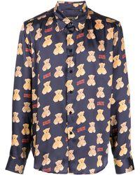Garçons Infideles Hemd mit Teddy-Print - Blau