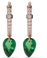 Raphaele Canot 18kt Rose Gold, Diamond And Tsavorite Set Free Earrings - Metallic