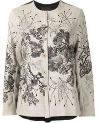 Biyan Floral Embroidered Jacket - Multicolour