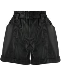 Liu Jo Ruched Faux Leather Shorts - Black