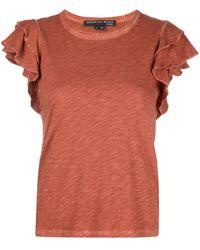Veronica Beard ラッフル Tシャツ - オレンジ